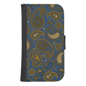 Earthy Brown Paisley pattern on blue fabric Samsung S4 Wallet Case