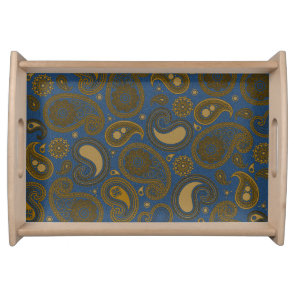 Earthy Brown Paisley pattern on blue fabric Serving Tray