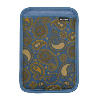 Earthy Brown Paisley pattern on blue fabric Sleeve For iPad Mini