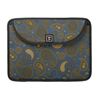 Earthy Brown Paisley pattern on blue fabric Sleeve For MacBook Pro