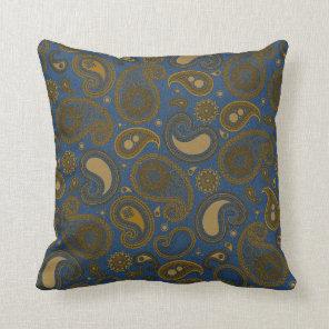 Earthy Brown Paisley pattern on blue fabric Throw Pillow