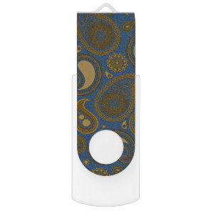 Earthy Brown Paisley pattern on blue fabric USB Flash Drive