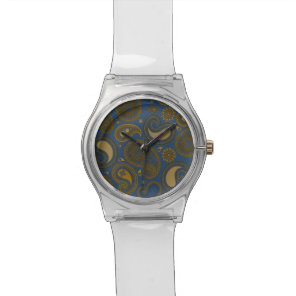 Earthy Brown Paisley pattern on blue fabric Wrist Watch