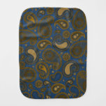 Earthy Brown Paisley pattern on blue fabric Burp Cloths