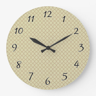 Earthy Brown Quatrefoil on Gold Large Clock