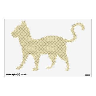 Earthy Brown Quatrefoil on Gold Wall Sticker