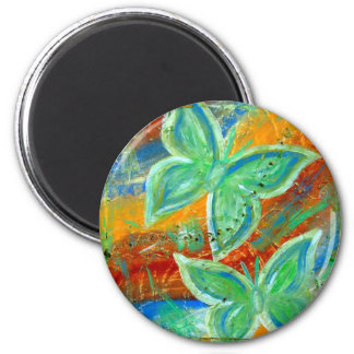 Earthy Butterflies 2 Inch Round Magnet