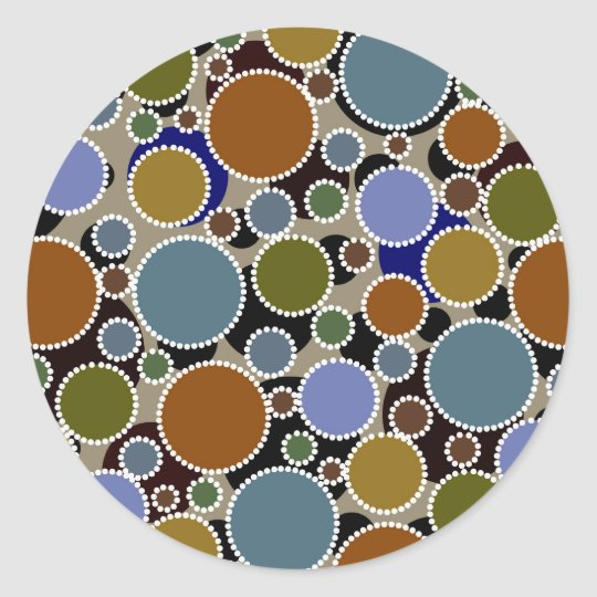 Earthy colored circles background classic round sticker