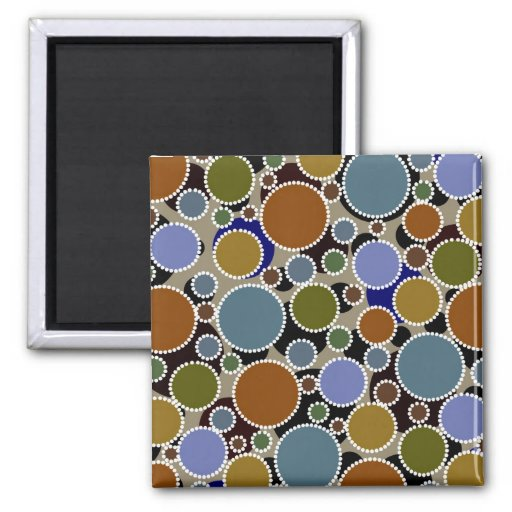 Earthy colored circles background 2 inch square magnet