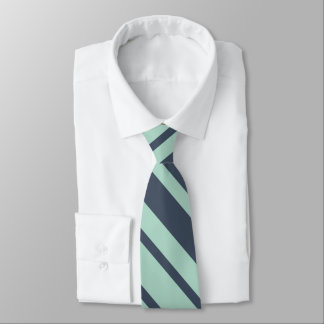 Earthy Deep Blue  and Light Turquoise Stripes Tie