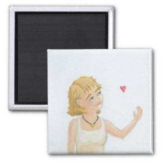 Earthy earnest woman contemplating love art Kris Magnet