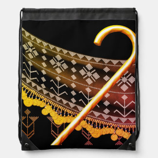 Earthy Folkloric Assuit Egyptian Cane Dance Drawstring Bag