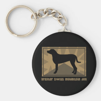 Earthy Greater Swiss Mountain Dog Basic Round Button Keychain