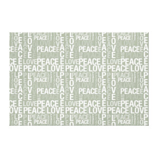 Earthy Green and White Peace and Love Canvas Print