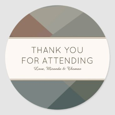 Beach Themed Earthy, Modern Abstract Thank You Classic Round Sticker