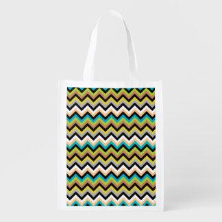 Earthy Multicolor Chevron Pattern Grocery Bags
