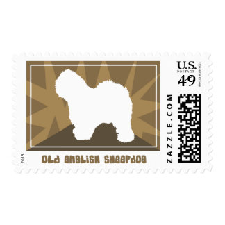 Earthy Old English Sheepdog Postage Stamps