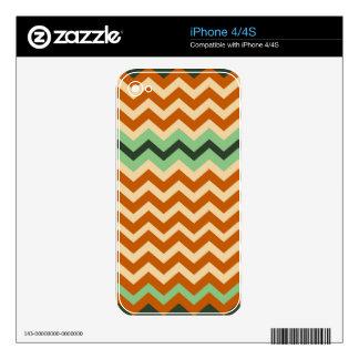Earthy Orange Mix Chevrons iPhone 4S Decals