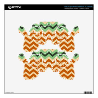 Earthy Orange Mix Chevrons PS3 Controller Skins