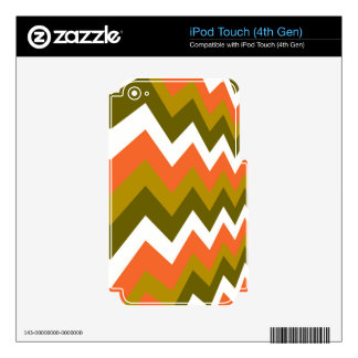Earthy Orange Mixed Zigzags iPod Touch 4G Skin