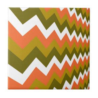 Earthy Orange Mixed Zigzags Tile