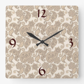 Earthy Paisley Square Wall Clock