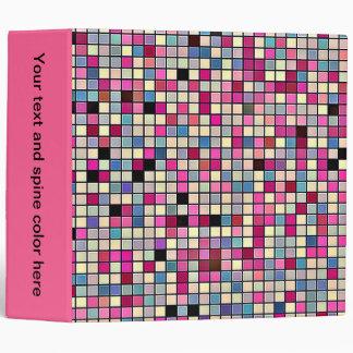 Earthy Pastels Square Tiles Pattern Vinyl Binders