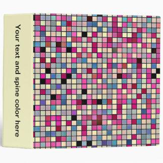 Earthy Pastels Square Tiles Pattern 3 Ring Binders