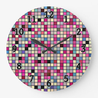 Earthy Pastels Square Tiles Pattern Large Clock