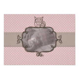 Earthy Pink Owl Birth Announcement