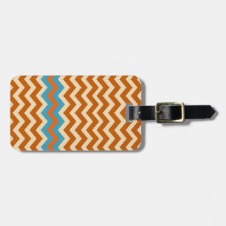 Earthy Pottery Zigzags With Blue Border Bag Tag