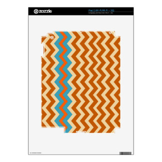 Earthy Pottery Zigzags With Blue Border iPad 2 Decals