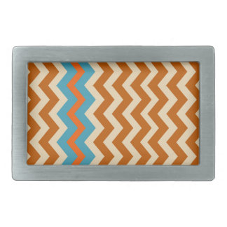 Earthy Pottery Zigzags With Blue Border Rectangular Belt Buckles