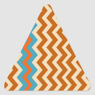 Earthy Pottery Zigzags With Blue Border Triangle Sticker