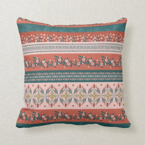 Earthy rust toned floral striped throw pillow