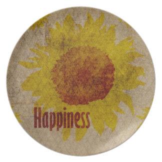 Earthy Sunflowers Happiness Melamine Plate