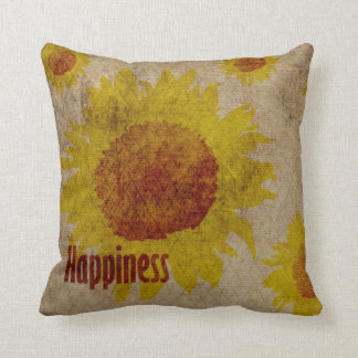 Earthy Sunflowers Happiness Throw Pillow