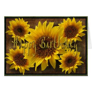 Earthy Sunflowers Happy Birthday Card