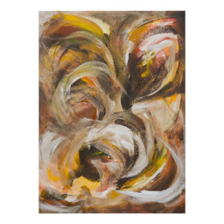 Earthy Swirls Abstract Acrylic on Canvas Poster