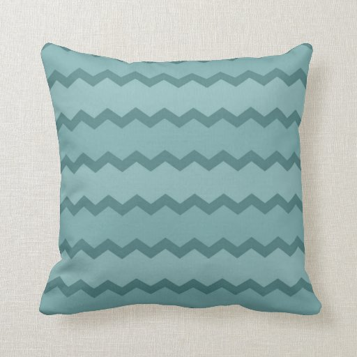 Earthy Teal Chevron Throw Pillow Zazzle