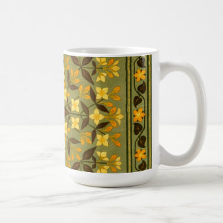 Earthy Teal Floral Textile Coffee Mug