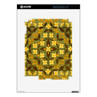 Earthy Teal Floral Textile Decals For The iPad 2