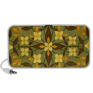 Earthy Teal Floral Textile Portable Speakers