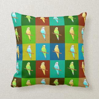 Earthy Tone Parakeet  squares cushion Throw Pillows