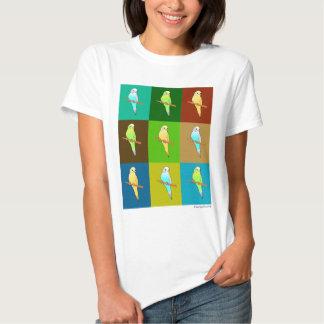 Earthy Tone Parakeet Squares Tee Shirt