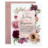Earthy Tones Burgundy Floral Vintage Wedding Invitation