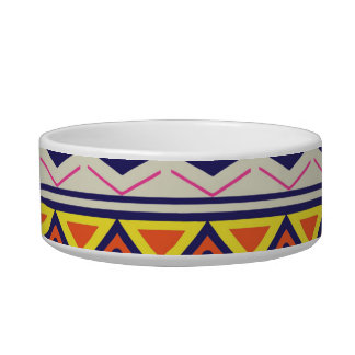 Earthy Tribal Border Pattern Cat Water Bowl