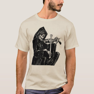 Eary 1900s Skeleton Playing a Violin Woodcut Art T-Shirt