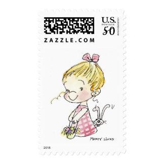 EAS-005 Easter Girl & Bunny Postage