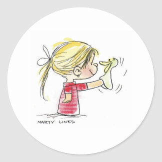 EAS-010 Easter Puppet Classic Round Sticker